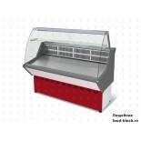 Универсальная холодильная витрина Марихолодмаш ВХСн-1,5 Нова (с гнутым стеклом, нержавейка)