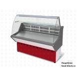 Универсальная холодильная витрина Марихолодмаш ВХСн-1,2 Нова (с гнутым стеклом, нержавейка)