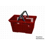 Покупательская пластиковая корзина VKF Renzel GmbH 20 л, 2 ручки, красная (RAL 3020)