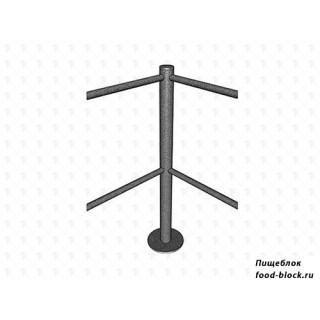 Калитка/стойка ограждения МДМ Столбик угловой, 4 отверстия (90 градусов) (основание хром)
