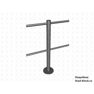Калитка/стойка ограждения МДМ Столбик средний, 4 отверстия (180 градусов) (основание хром)